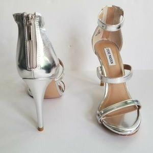 Steve Madden  Feelya Silver Ankle Strap Heels 9.5